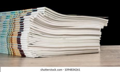 close up shot of a magazine stack