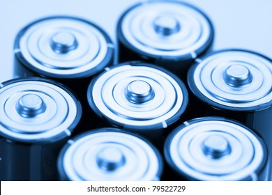 Close up shot of many alkaline batteries