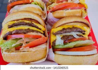 Close up shot of many In n Out burger, ate at Las Vegas, Nevada