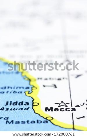 Close Shot Mecca On Map Saudi Stock Photo (Edit Now) 172800761 ...