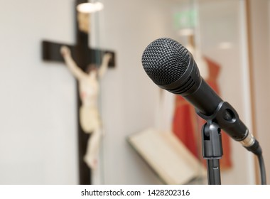 Close up shot of a microphone on a church altar.