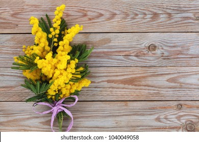 Close up shot of mimosa flowers on wooden rustic background.