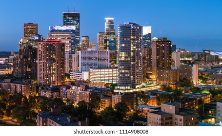Close up shot of the Minneapolis skyline just after sunset.