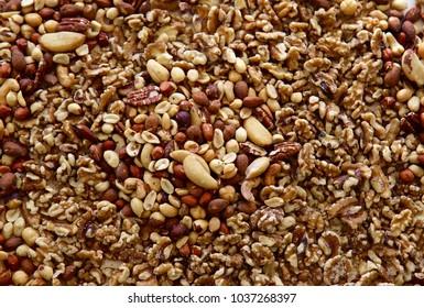 A close up shot of mixed nuts.