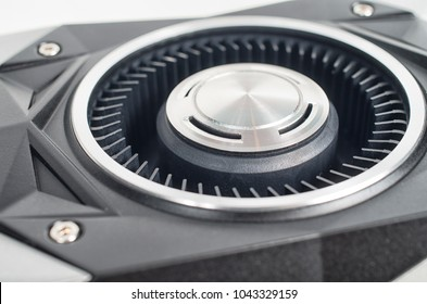 Close up shot of a modern graphical card fan used in crypto currency mining gigs