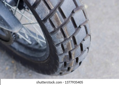 Close up shot of a motorcycle wheel, Motorcycle tires