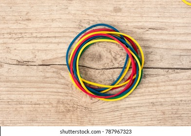Close up shot of multi colored rubber bands