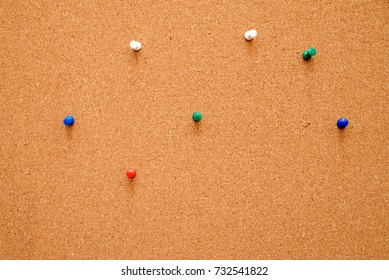 A close up shot of a notice board pins.