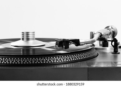 Close up shot Old turntable with Black and white