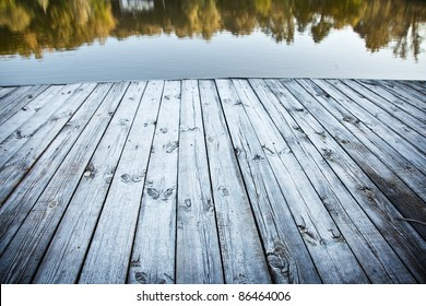 Close up shot of old wooden pier.
