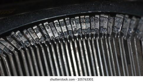 Close up shot on an old typewriting machine