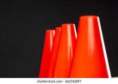 Close up shot of orange traffic cones