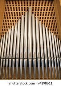 Close up shot of the organ tubes