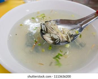 Close up shot of Oyster soup, ate at Matsu, Taiwan