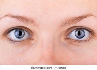 close up shot of a pair of womans eyes with shallow DOF