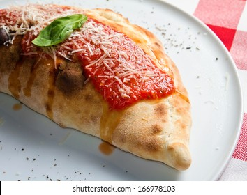 Close up shot of a panzarotti on a plate in restaurant