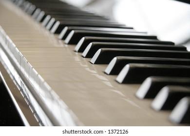 Close up shot of piano keys