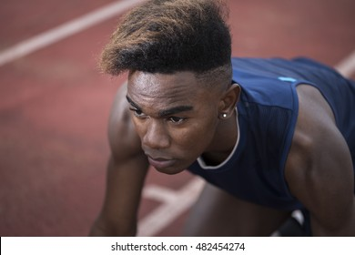 Close Up Shot of a Professional Teenager Athlete on Running Track