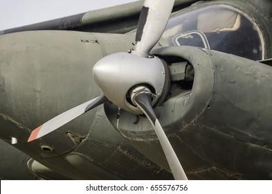 Close Up Shot Of A Propeller Plane