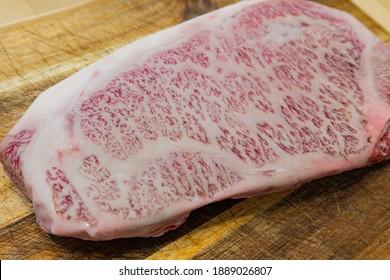 Close up shot of a Raw A5 grade Wagyu beef at Las Veags, Nevada
