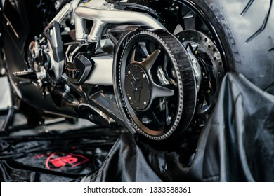 Close up shot of the rear rim of Ducati XDiavel S Motorcycle. Ducati Sabretooth Custom Concept. International Motorcycle, Bicycle and Accessories Exhibition. Istanbul Motobike 2019.