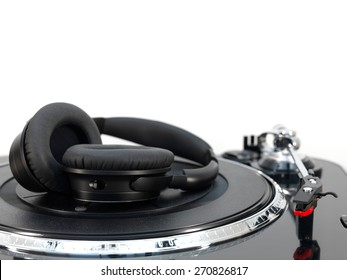 A close up shot of a record turntable