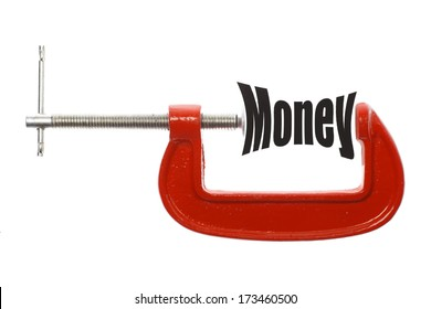 """Close up shot of a red vice and the word """"Money"""""""