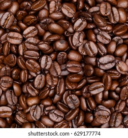 close up shot of roast coffee texture background in square ratio