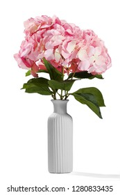 Close up shot of rosy hydrangea bouquet in a white vase. The ceramic vase has fluted surface. The vase with bouquet is isolated on white background. Bright reminding of summer and spring seasons.