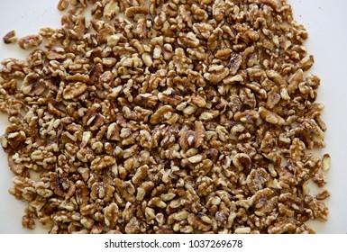 A close up shot of shelled walnuts