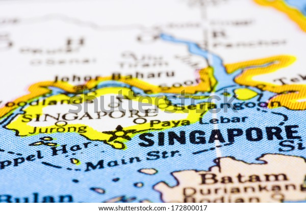 a close up shot of Singapore on map, asia.