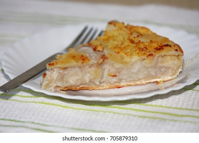 Close up shot of an slice of a buko pie- dessert food in the Philippines.