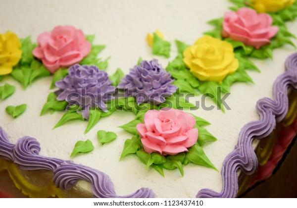 Sensational Close Shot Sliced Birthday Cake Decorated Stock Photo Edit Now Funny Birthday Cards Online Ioscodamsfinfo