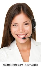 Close up shot of smiling call center operator