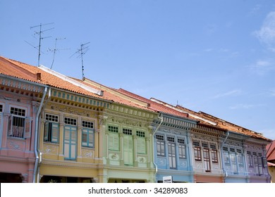 Close up shot of some colorful historic architecture - Shop houses in Singapore Joo Chiat area.