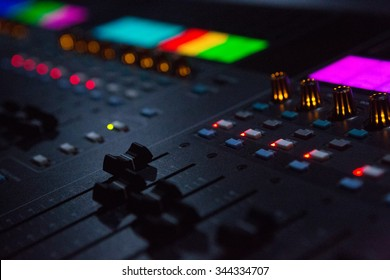 Close Up Shot Of Sound Mixing Desk In Venue