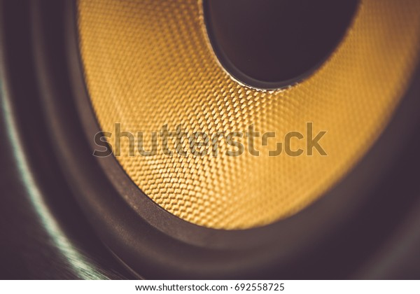 Close up shot of speaker box.Hi-fi audio equipment for musician,party dj & sound recoding studio.Listen to music tracks in highest quality