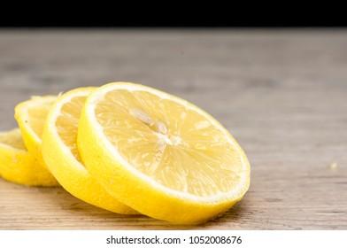 Close up shot of stacked lemon slices