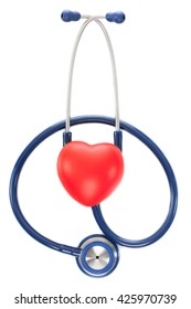 Close up shot of stethoscope and toy heart on white background