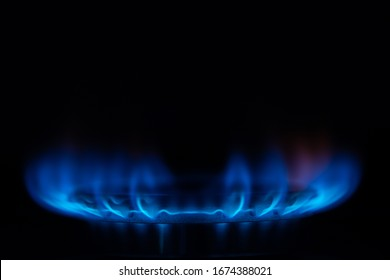 Close up shot of stove gas on dark background
