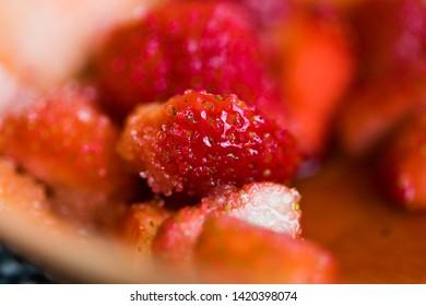 Close up shot of strawberries