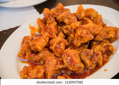 Close up shot of sweet and sour chicken, ate at San Francisco, California