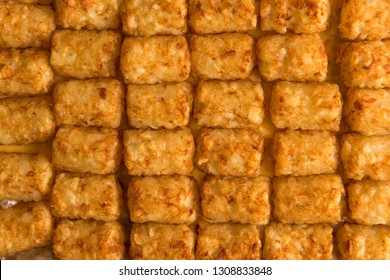 Close up shot of tater tot hot dish, shot from above and filling the frame.
