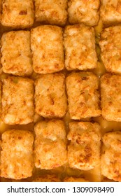 Close up shot of tater tot hot dish, shot from above filling the frame.