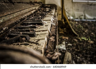 Close up shot of tattered old abandoned vintage piano in deep rural Georgia