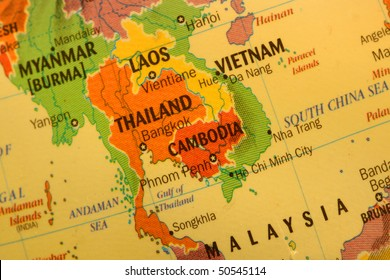 Close up shot of Thai land map on the globe