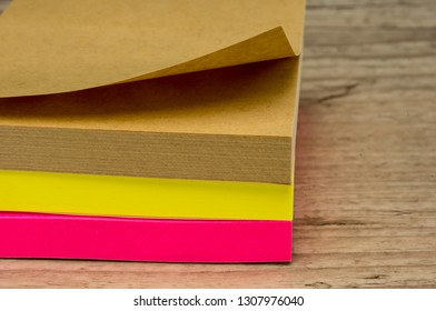 Close up shot of three sticky notes blocks