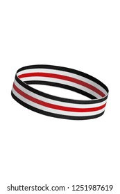 Close up shot of a tilted hair band for fitness and working out. Round-shaped training headband with stripes, isolated against the white background. Trendy athletic headwear. Sporty hair accessories.