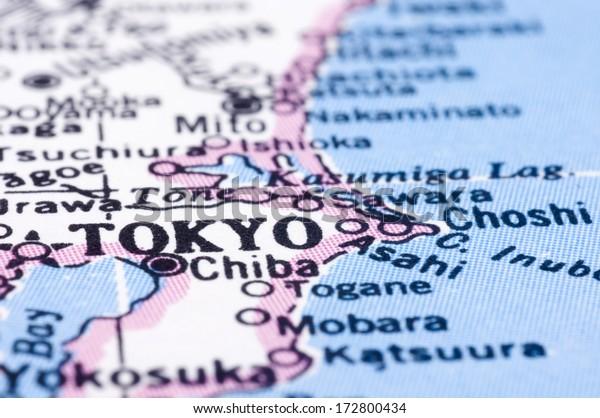 Close Shot Tokyo On Map Capital Stock Photo (Edit Now) 172800434