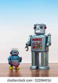 A close up shot of a toy metal robot